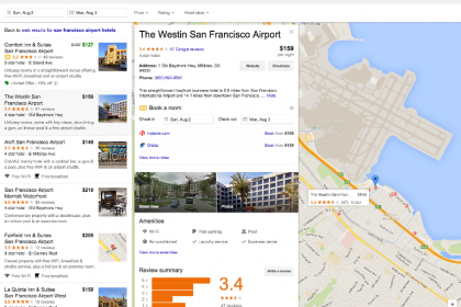 new hotel finder interface