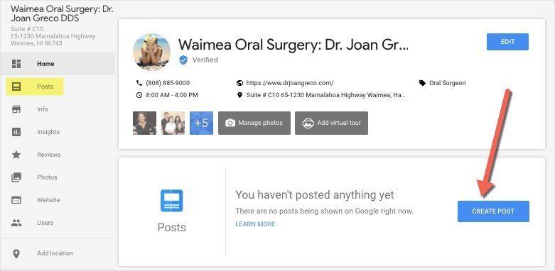 Google My Business CREATE POST