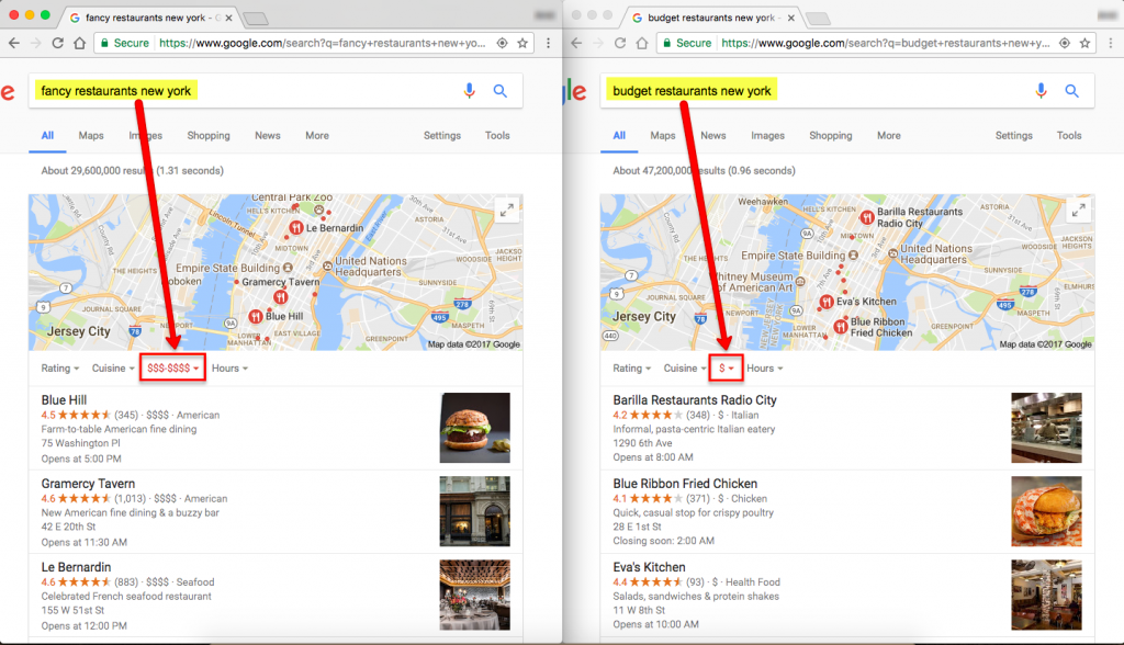 NEW LOCAL SEARCH FILTERS - Costs