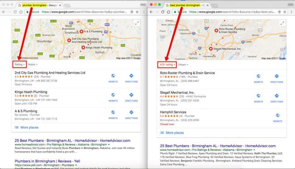 NEW LOCAL SEARCH FILTERS - Rating